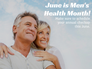 June is men's health month image of man and woman